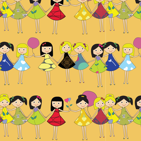Girl Friends fabric by witee on Spoonflower - custom fabric