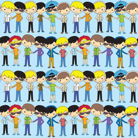 Boy Friends fabric by witee on Spoonflower - custom fabric
