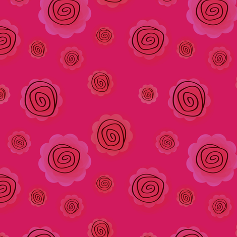 Roses in pink fabric by witee on Spoonflower - custom fabric