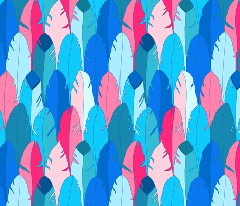 Large Feathers in Blue fabric by alinichole on Spoonflower - custom fabric