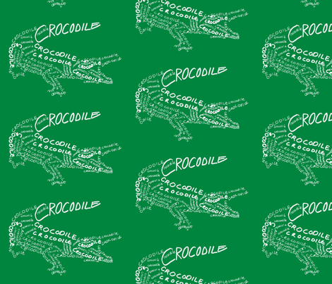 Crocodile Calligram fabric by blue_jacaranda on Spoonflower - custom fabric