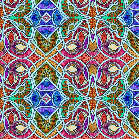 Big Alien Flower Blocks Tangled up in Blue String fabric by edsel2084 on Spoonflower - custom fabric