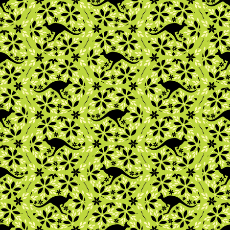 Flowers & Roos (Green) fabric by robyriker on Spoonflower - custom fabric
