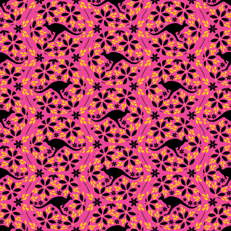 Flowers &amp; Roos (Pink) fabric by robyriker on Spoonflower - custom fabric