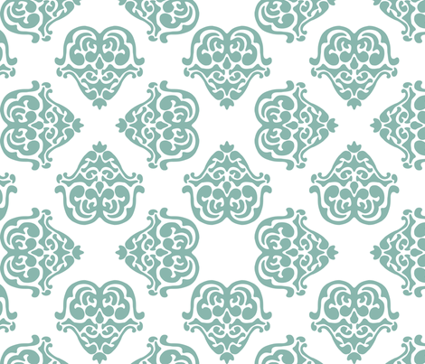 damask motif sea green fabric by tinamhall on Spoonflower - custom fabric
