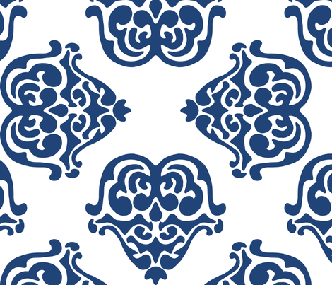damask motif indigo fabric by eeniemeenie on Spoonflower - custom fabric