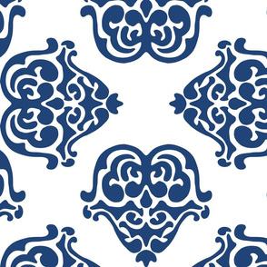 damask motif indigo