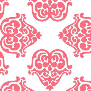 damask motif coral