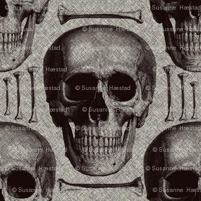burlap skulls&bones large
