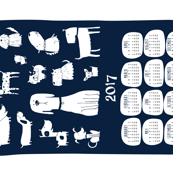 2017 Tea towel calendar - dogs navy