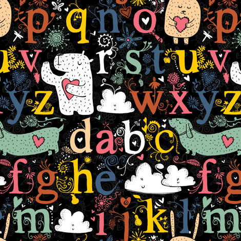 i love letters, bunnies and bears oh my fabric by laura_the_drawer on Spoonflower - custom fabric