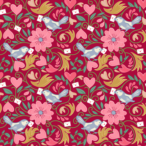 A Lovely Delivery - Red fabric by dianne_annelli on Spoonflower - custom fabric