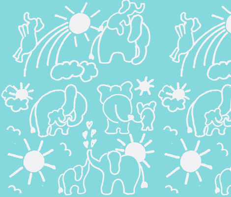 LARGE SCALE You Are My Sunshine Elephants in Aqua and White fabric by kbexquisites on Spoonflower - custom fabric