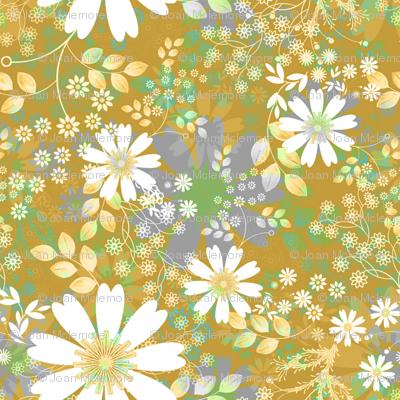 Cosmos Meadow Floral mustard