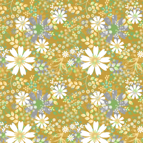 Cosmos Meadow Floral mustard fabric by joanmclemore on Spoonflower - custom fabric