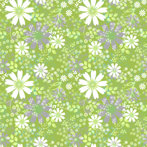Cosmos Meadow in green fabric by joanmclemore on Spoonflower - custom fabric