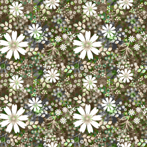 Cosmos Meadow in silver frost fabric by joanmclemore on Spoonflower - custom fabric