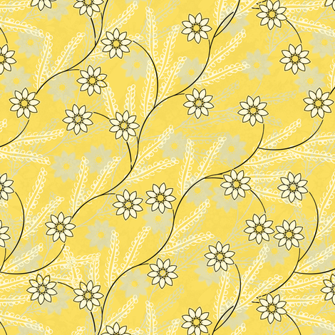Meadow Morning in yellow  fabric by joanmclemore on Spoonflower - custom fabric