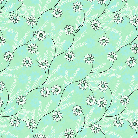 Meadow Morning in mint fabric by joanmclemore on Spoonflower - custom fabric