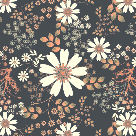 Cosmos Meadow Glow in peach fabric by joanmclemore on Spoonflower - custom fabric