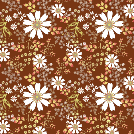 Cosmos Meadow on brown fabric by joanmclemore on Spoonflower - custom fabric