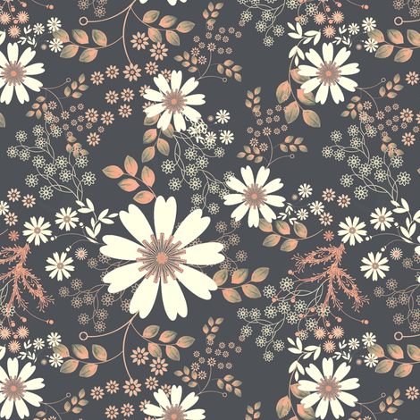 Cosmos Meadow Moonlight  in peach and gray  fabric by joanmclemore on Spoonflower - custom fabric