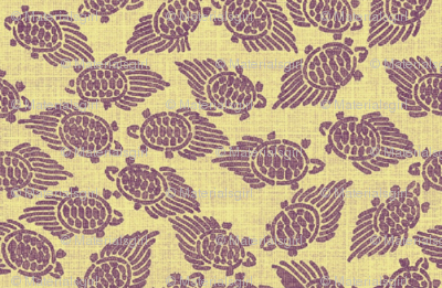 turtles - purple with yellow background