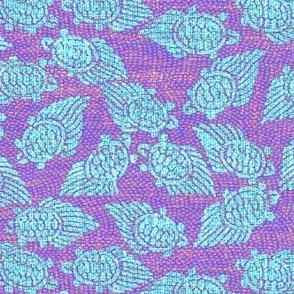 Turtles - light blue, purple/pink background