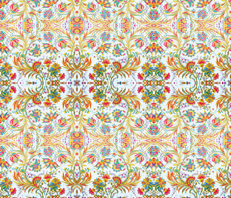 Jacobean Floral Bright by Susi Franco fabric by susifranco on Spoonflower - custom fabric