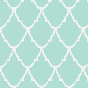 Teardrop Trellis Mint and White