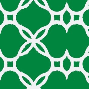 Ironwork Lattice Emerald and White
