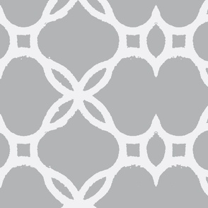 Ironwork Lattice Gray and White