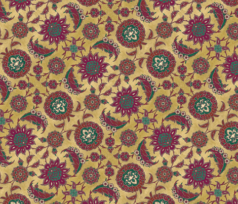 Antique Arabic floral fabric by unseen_gallery_fabrics on Spoonflower - custom fabric