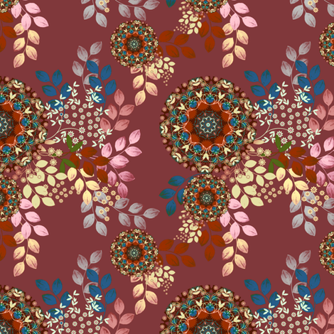 Meadow Bouquet in plum fabric by joanmclemore on Spoonflower - custom fabric
