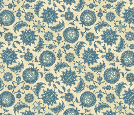 Antique Arabic floral, in blues