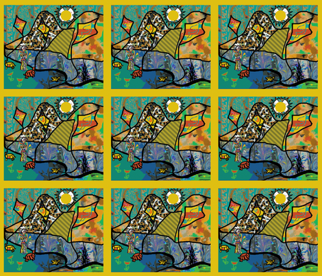 The Ottoman Turtles Fly Kites with the Lady of Colors (basic repeat) fabric by anniedeb on Spoonflower - custom fabric