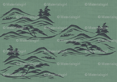 Asian inkscape - green slate and charcoal-ed