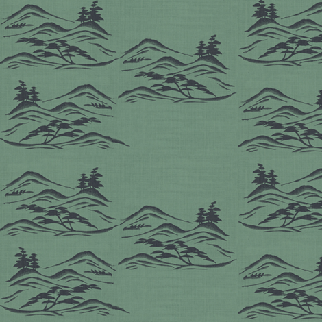 Asian inkscape - green slate and charcoal-ed fabric by materialsgirl on Spoonflower - custom fabric