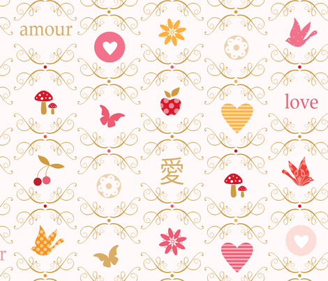 love letters by rozo fabric by rozo on Spoonflower - custom fabric