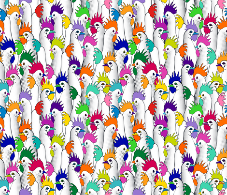 Chicken POPs - Half fabric by juliesfabrics on Spoonflower - custom fabric