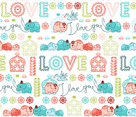 Elephant love story fabric by cjldesigns on Spoonflower - custom fabric