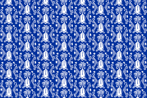 Pineapple Ikat Cobalt fabric by lulabelle on Spoonflower - custom fabric