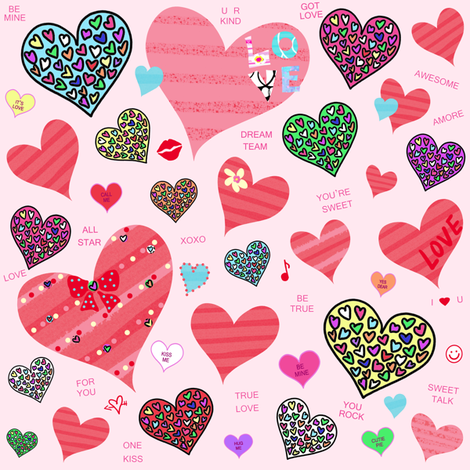 Candy Heart Love fabric by taramcgowan on Spoonflower - custom fabric
