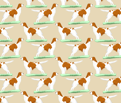 Irish red and white Setters - tan fabric by rusticcorgi on Spoonflower - custom fabric