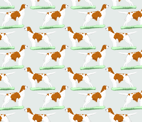 Irish red and white Setters - sky blue fabric by rusticcorgi on Spoonflower - custom fabric