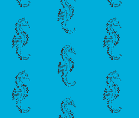 Seahorse Calligram fabric by blue_jacaranda on Spoonflower - custom fabric