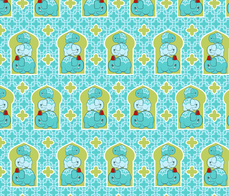 Elephant family blue fabric by cjldesigns on Spoonflower - custom fabric