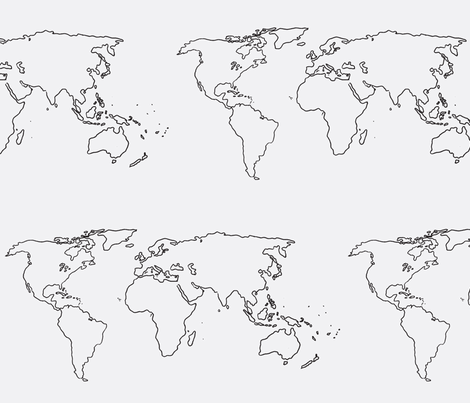 world map black on white