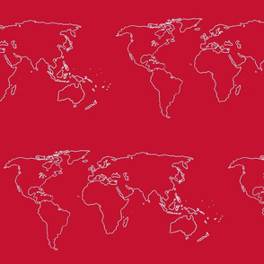 world map white on red