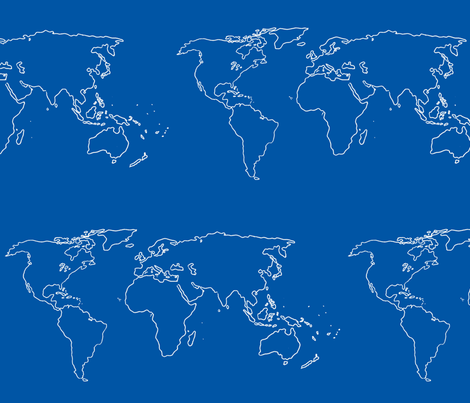 world map white on blue